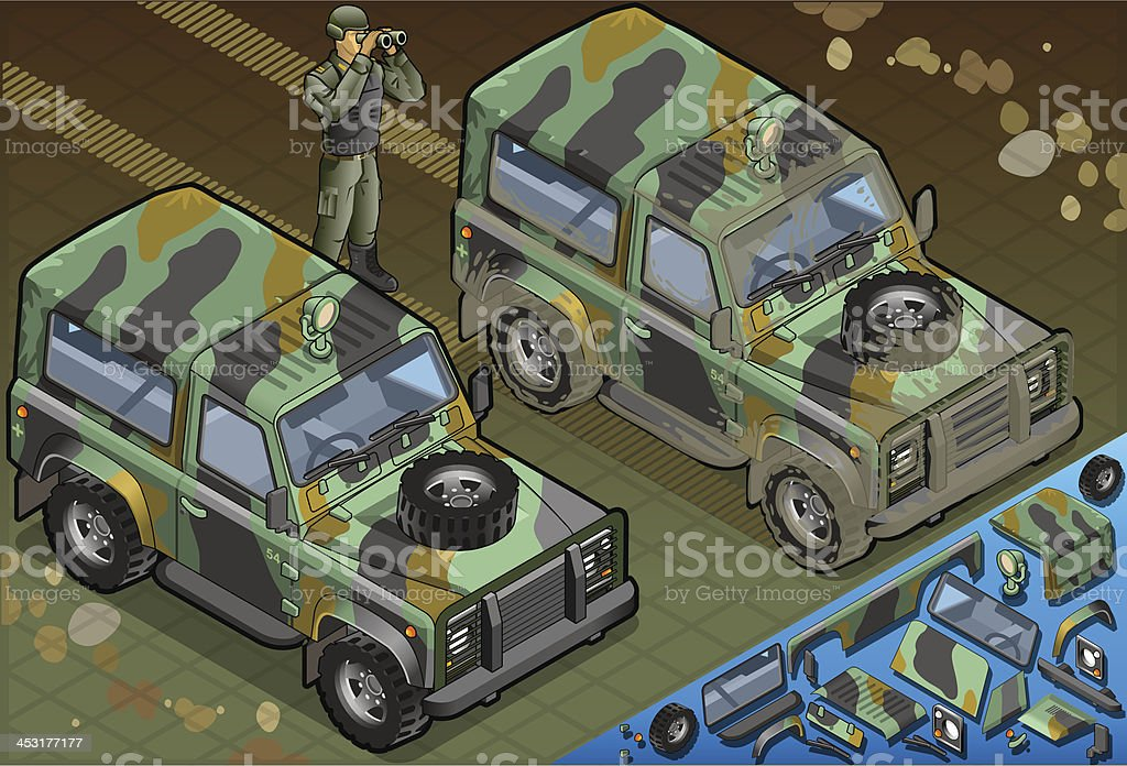 Isometric Military Jeep with Soldier in Front View royalty-free stock vector art