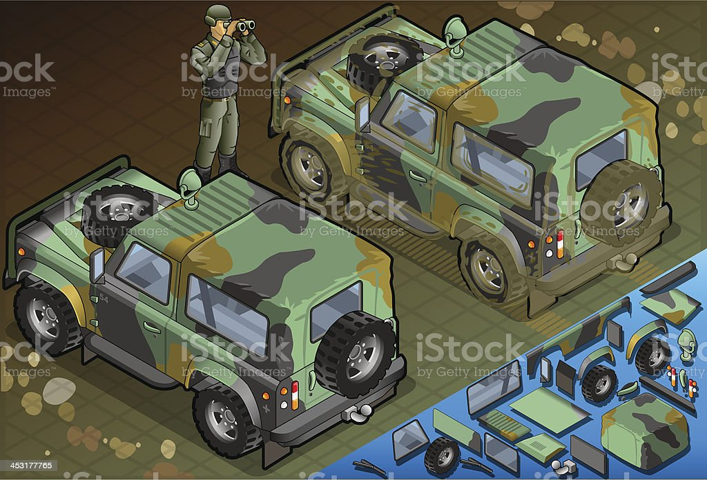 Isometric Military Jeep with Soldier in Rear View royalty-free stock vector art
