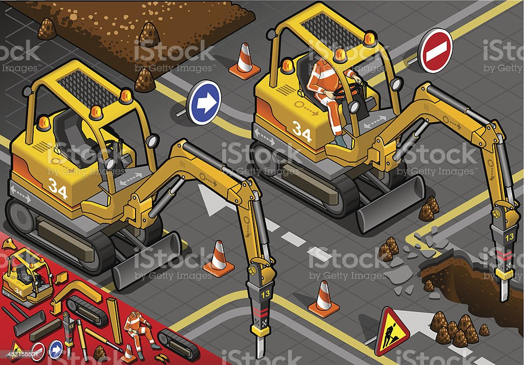 Isometric Mini Chisel Excavator in Front View royalty-free stock vector art