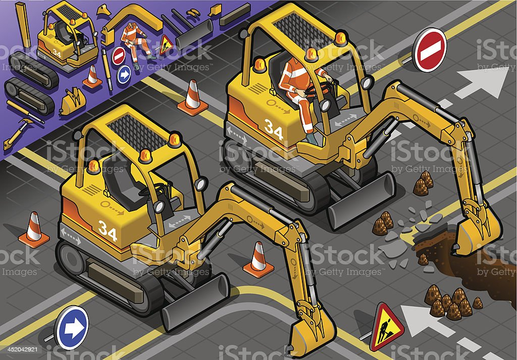 Isometric Mini Excavator with Man at Work in Front View royalty-free stock vector art