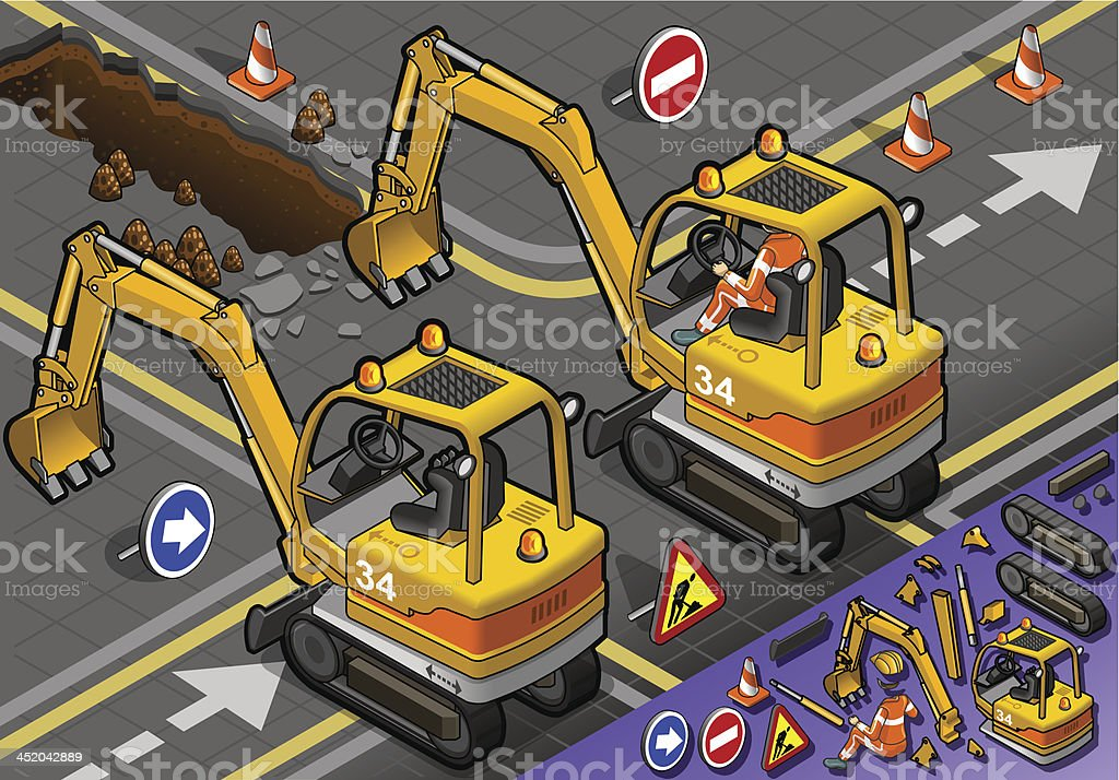 Isometric Mini Excavator with Man at Work in Rear View royalty-free stock vector art