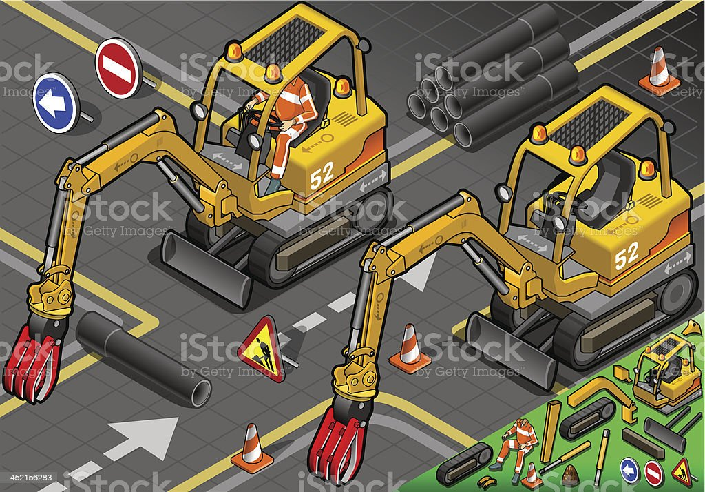 Isometric Mini Mechanical Arm Excavator in Front View royalty-free stock vector art