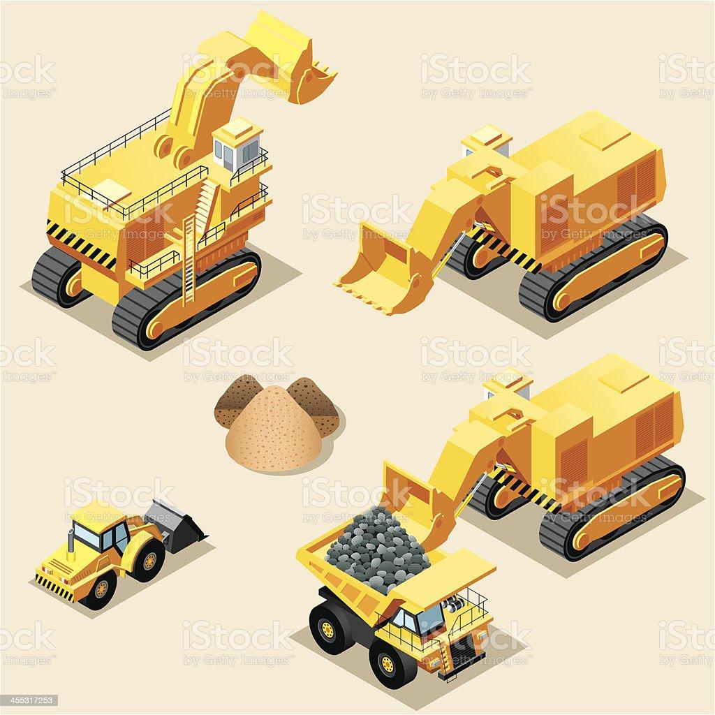 Isometric, Mining machinery royalty-free stock vector art