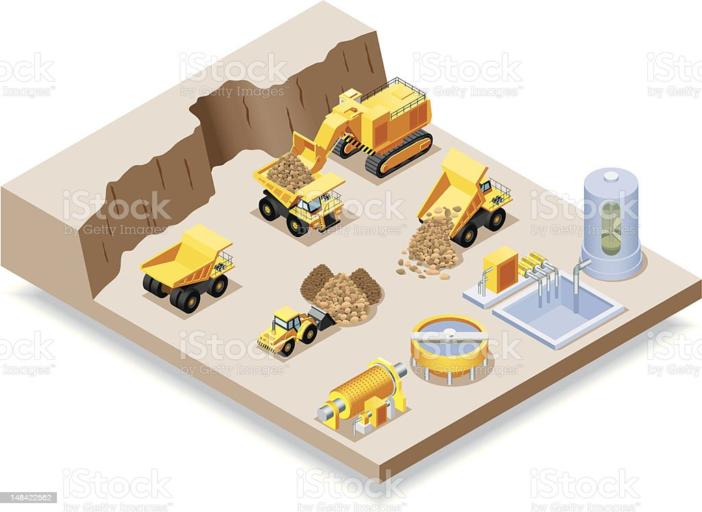 Isometric, Mining set vector art illustration
