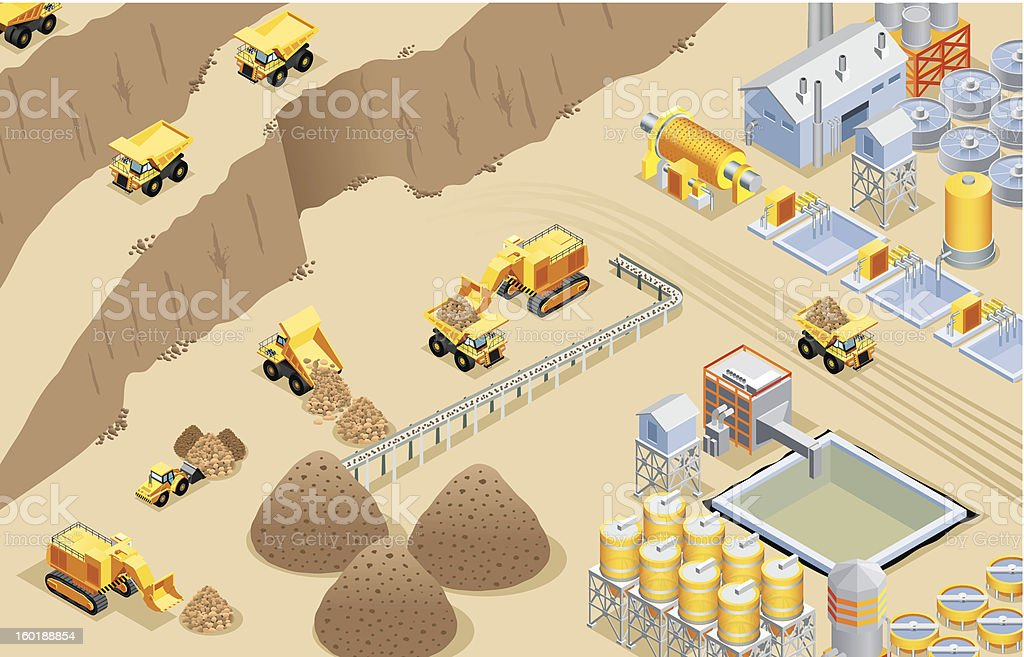 Isometric mining vector art illustration