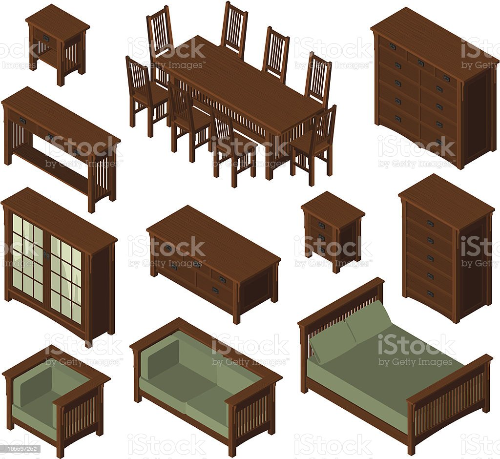 Isometric Mission Furniture royalty-free stock vector art