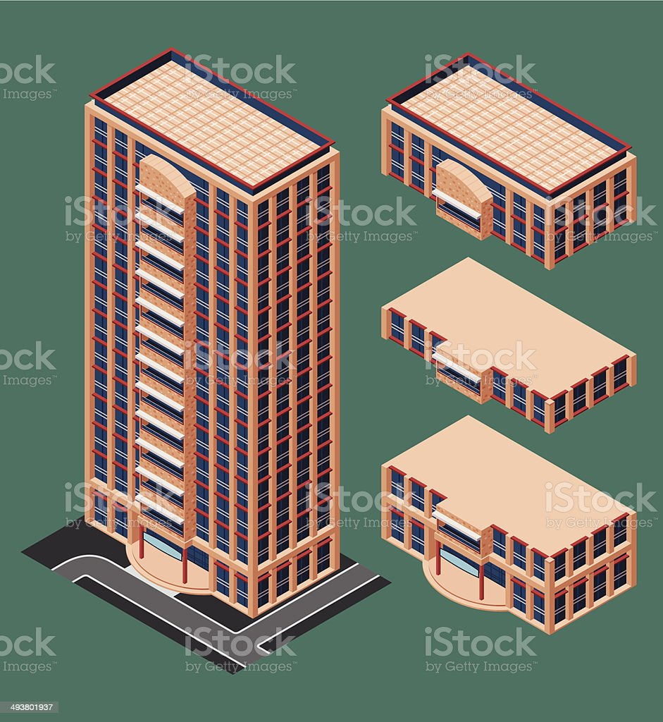 isometric modern building vector art illustration
