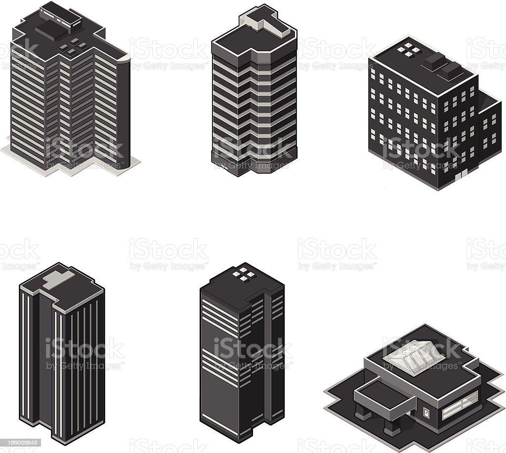 Isometric Modern Office Buildings royalty-free stock vector art