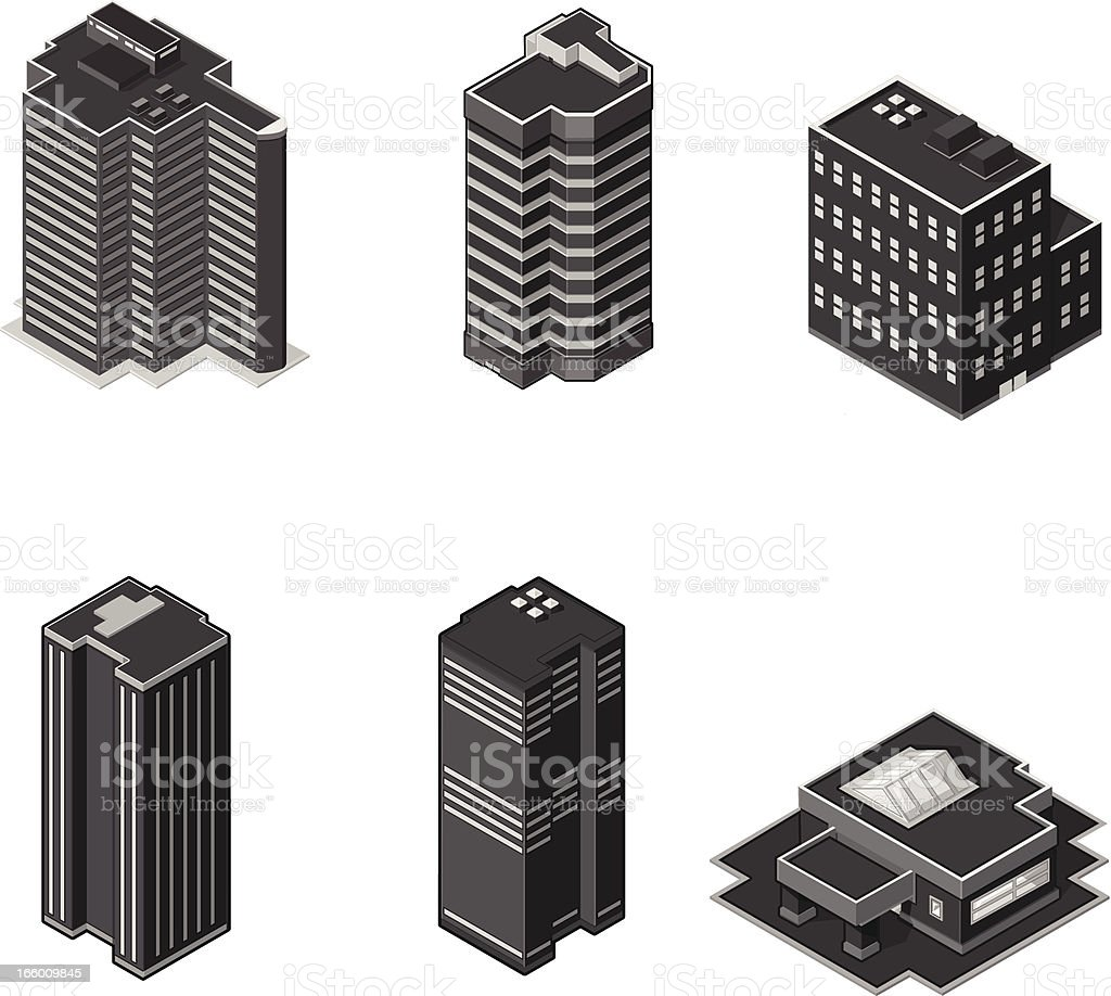 Isometric Modern Office Buildings vector art illustration