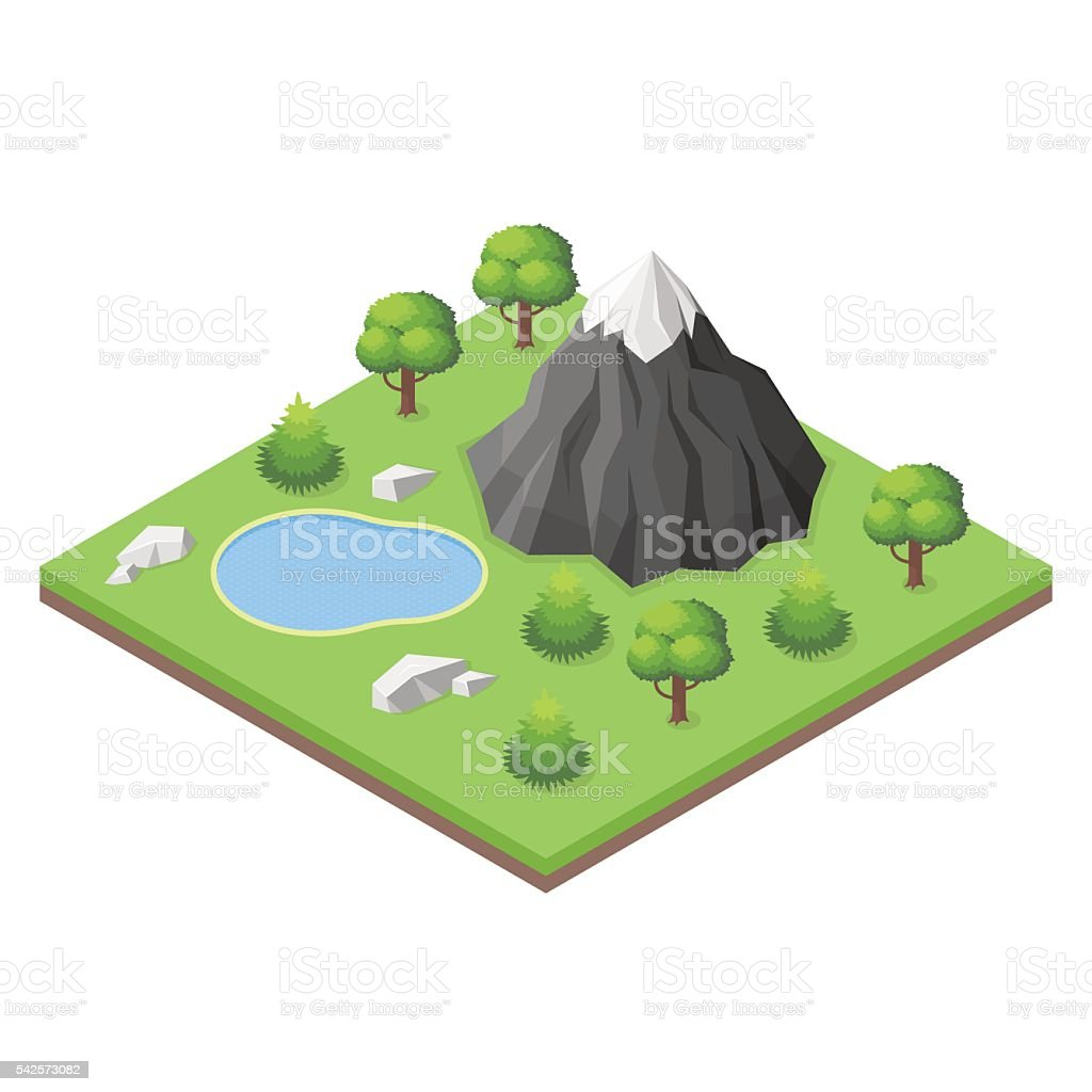 Isometric mountain lake in the woods. vector art illustration