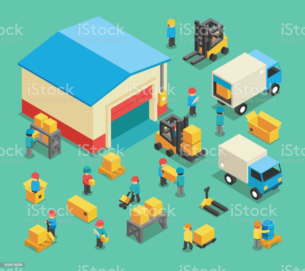 Isometric moving cargo and warehousing employees vector art illustration