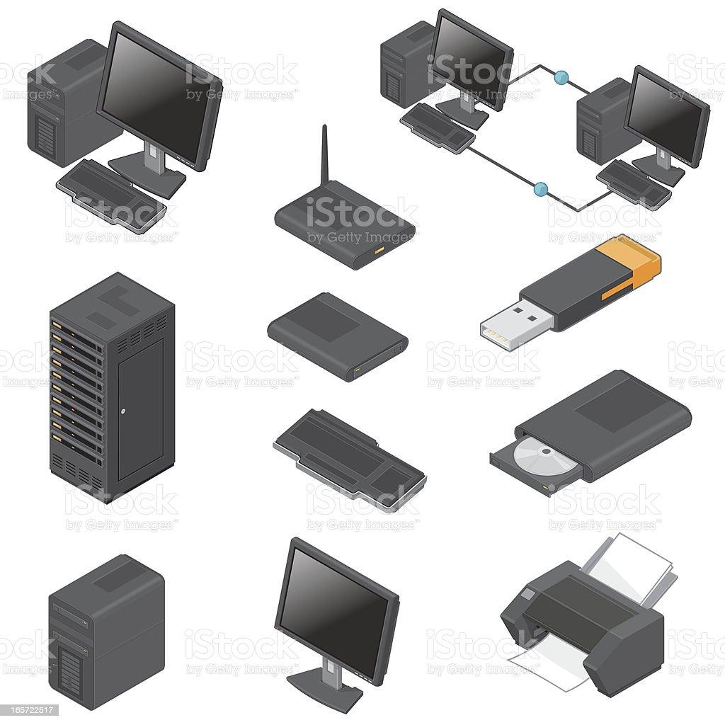 Isometric Multimedia Icons vector art illustration