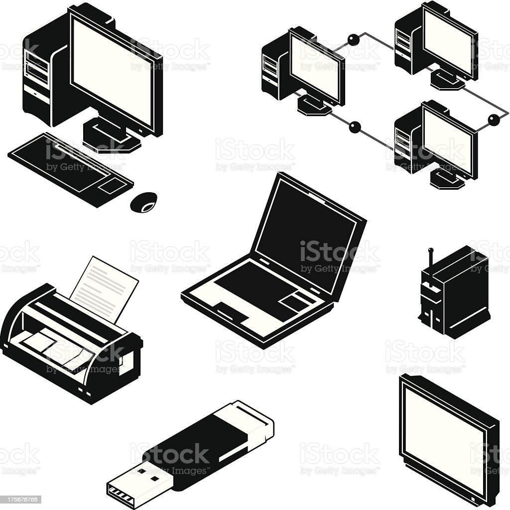 Isometric Multimedia Icons royalty-free stock vector art