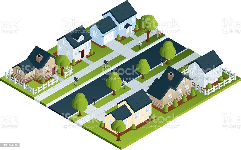 Isometric Neighborhood vector art illustration