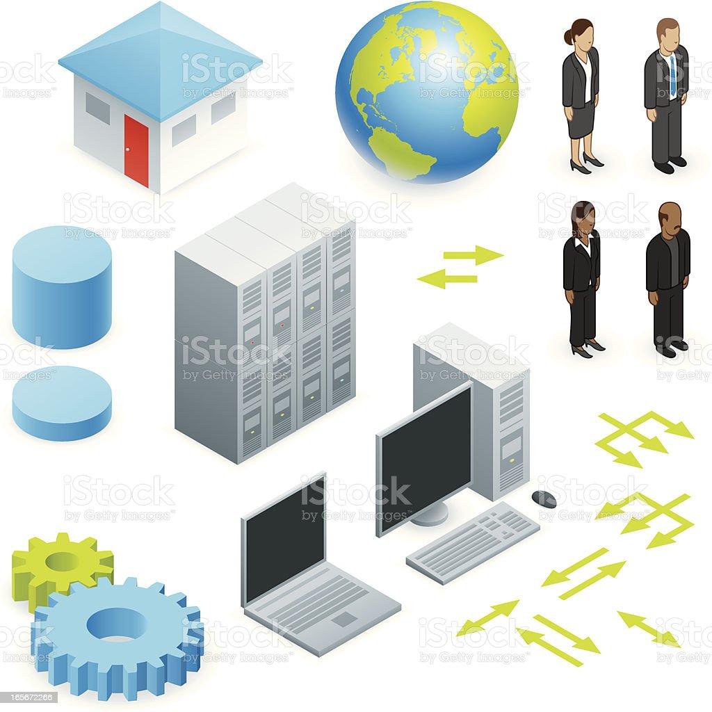 Isometric network elements royalty-free stock vector art