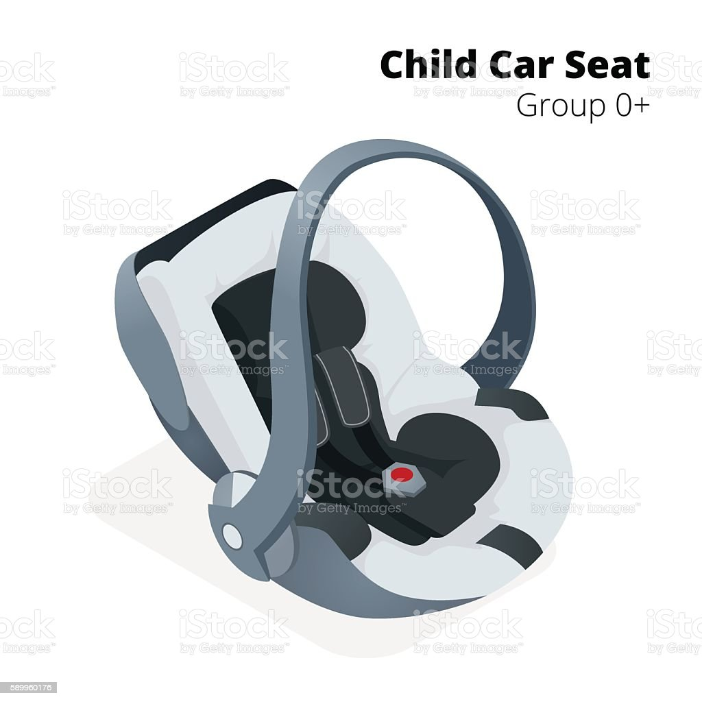 Isometric Newborn baby Car Seat vector art illustration