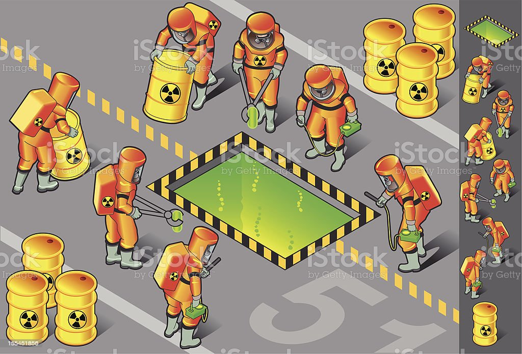 isometric nuclear area with six man at work royalty-free stock vector art