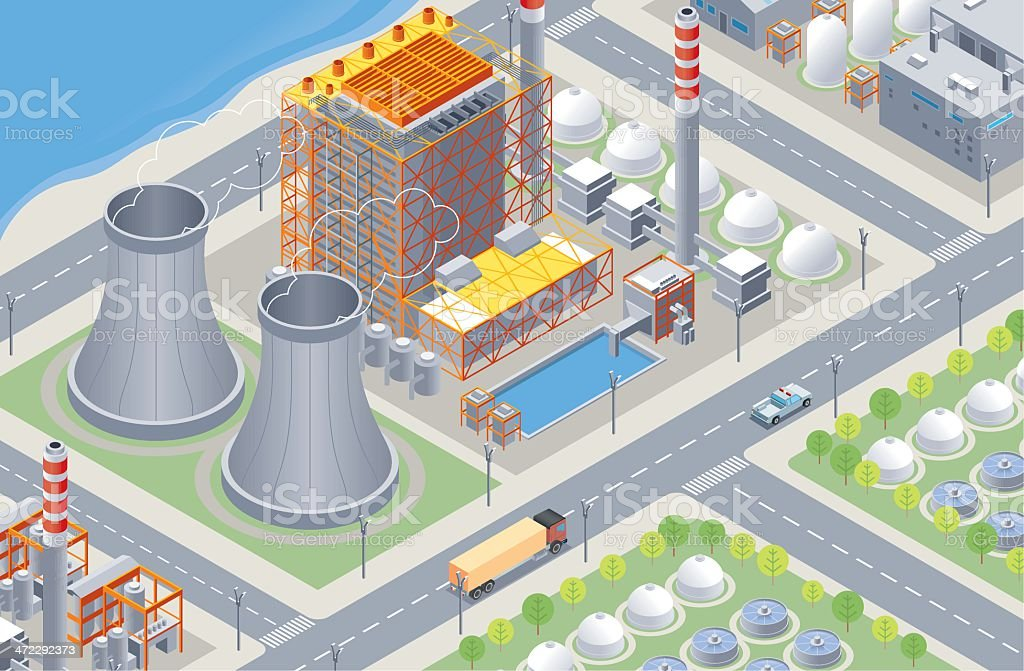 Isometric, Nuclear Plant vector art illustration
