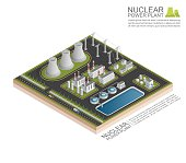 Isometric Nuclear power plant, vecor