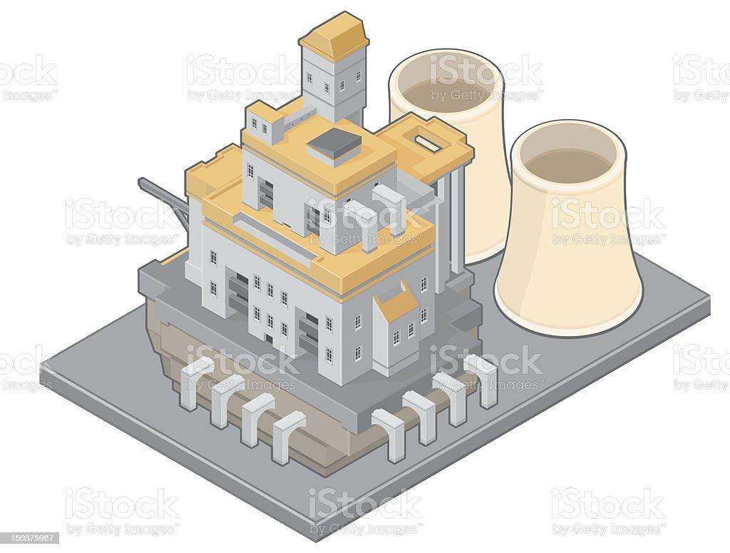 Isometric Nuclear Power Plant vector art illustration