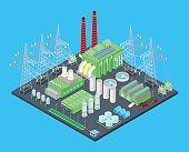 Isometric Nuclear Power Station with Pipes