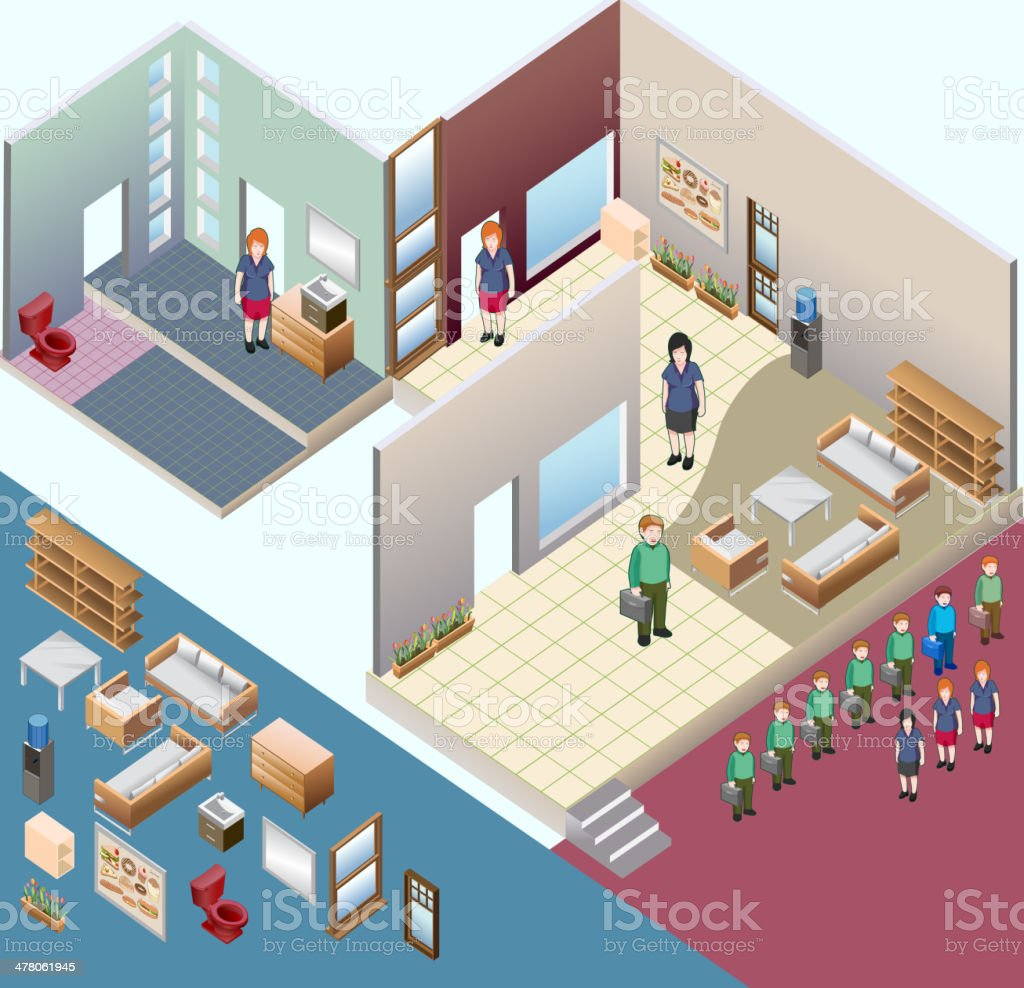 isometric of interior room vector art illustration