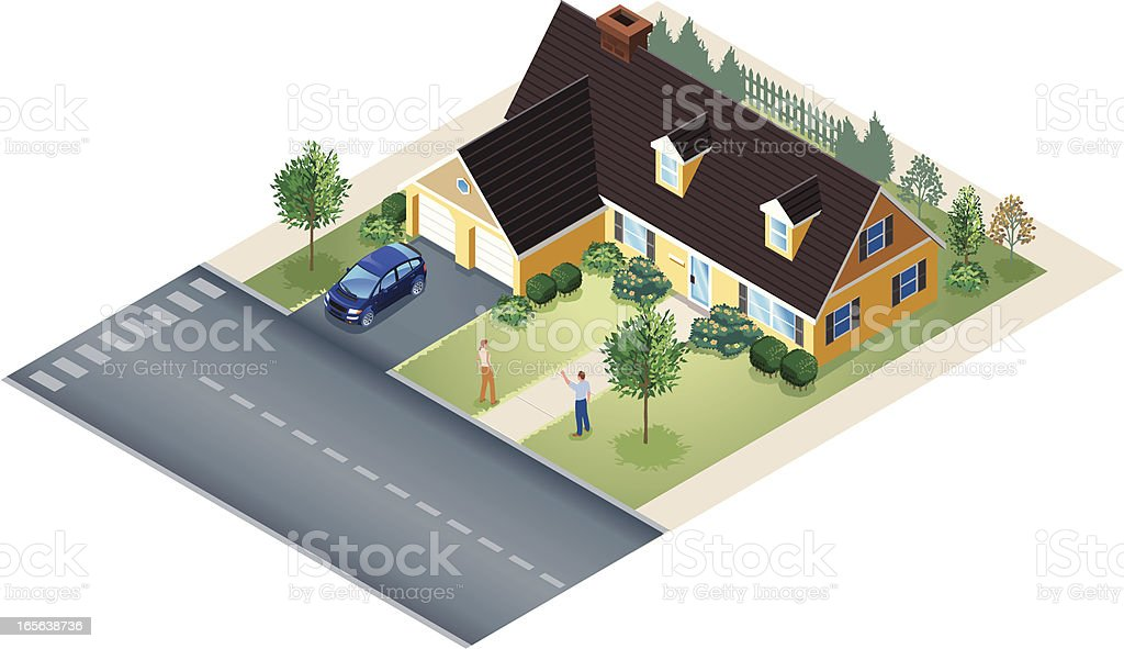 Isometric of Large Bungalow House with People in Yard royalty-free stock vector art
