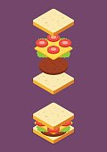 Isometric of Sandwich ingredients