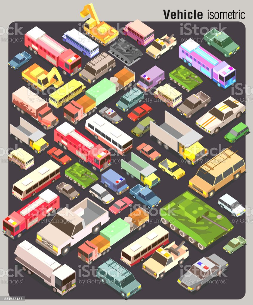 isometric of several land transportation collection vector set vector art illustration