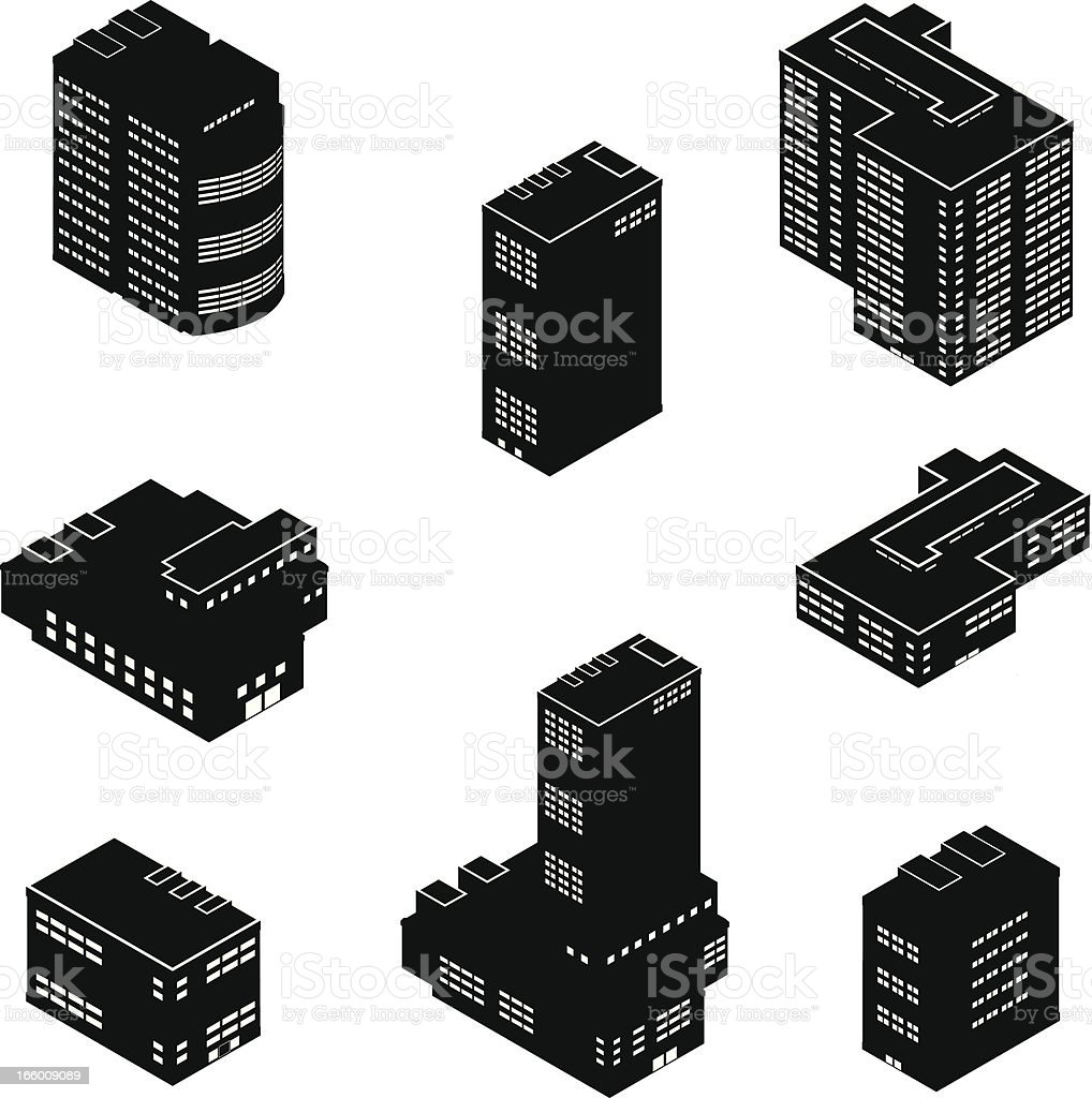 Isometric Office Buildings royalty-free stock vector art