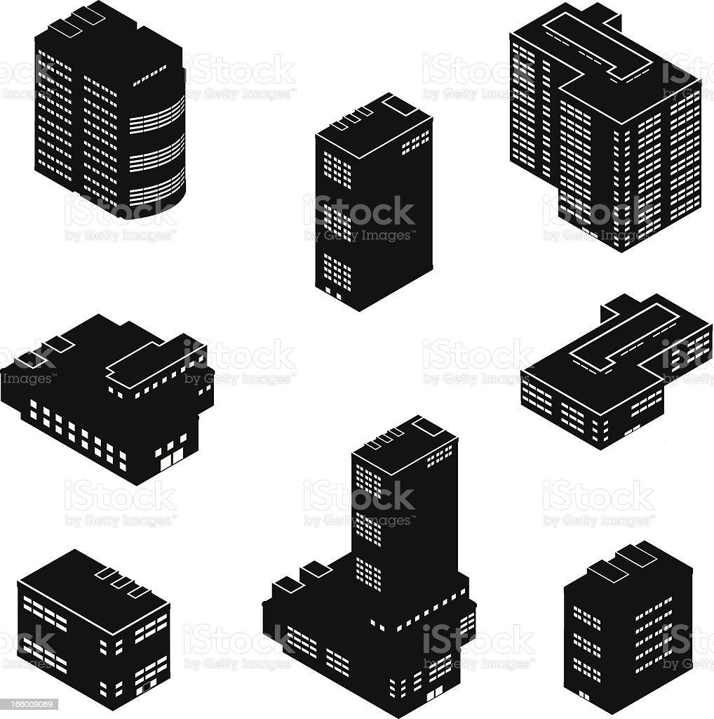 Isometric Office Buildings vector art illustration