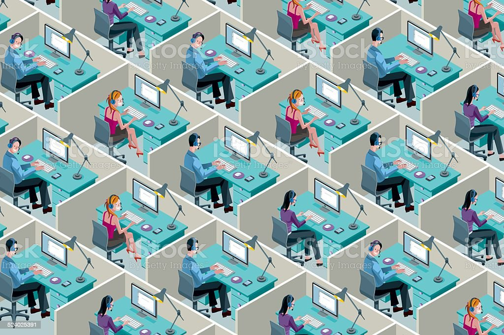 Isometric Office Cubicles vector art illustration