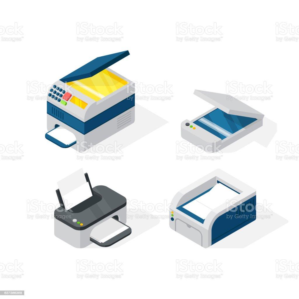 Isometric office equipment vector vector art illustration