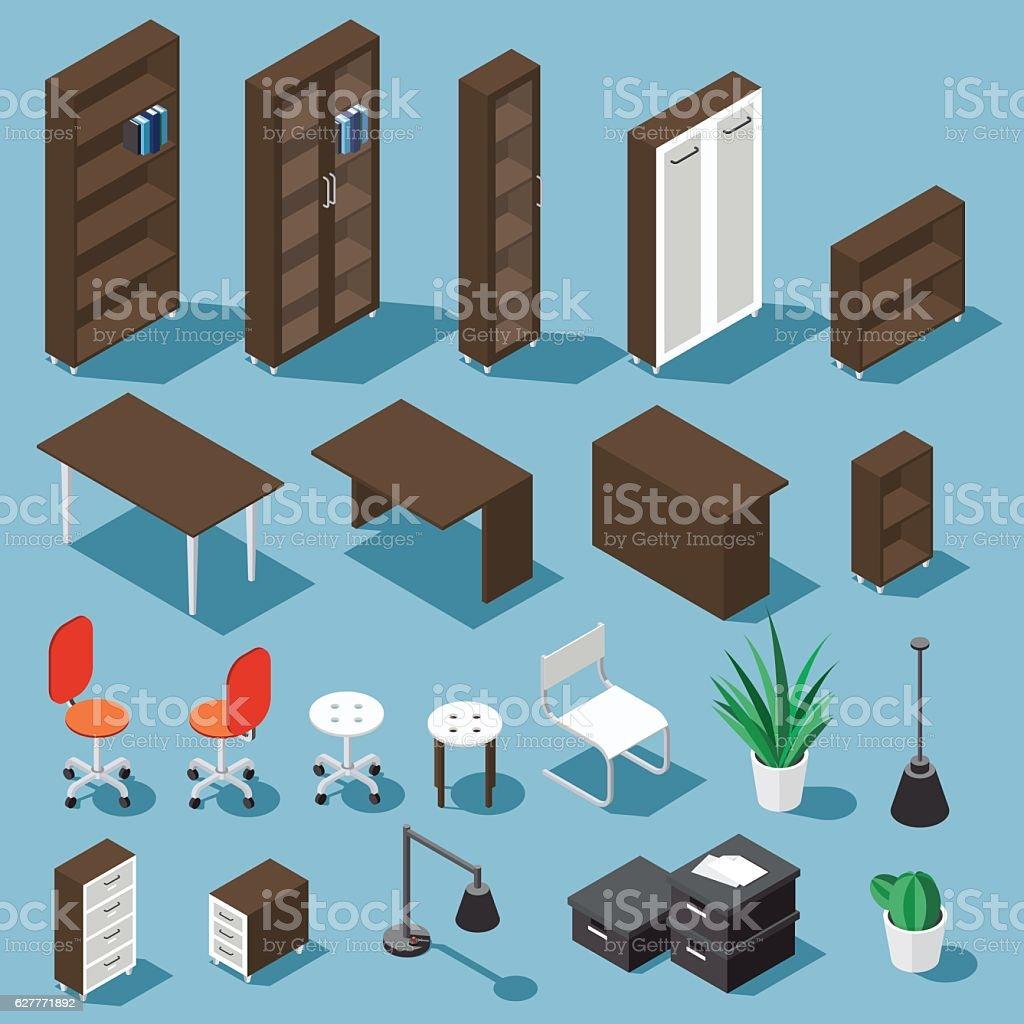 Isometric office funiture set vector art illustration