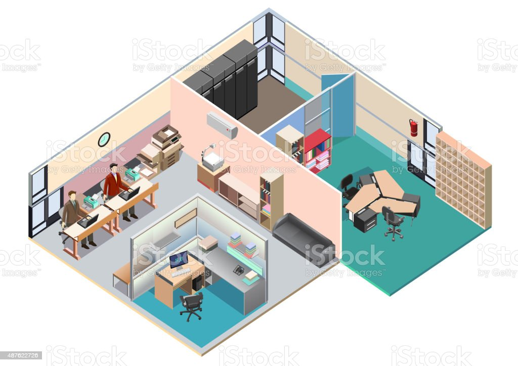 Isometric office interior layout. detailed vector illustration vector art illustration