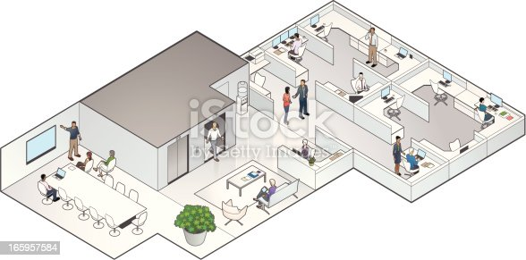 Isometric Office Cutaway