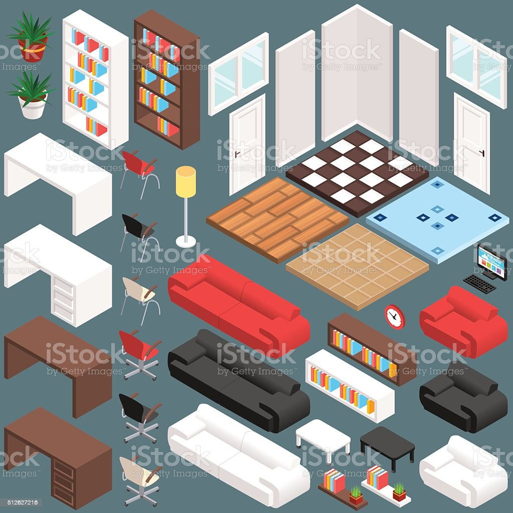 Isometric Office Planning. 3D Vector Creation Kit vector art illustration