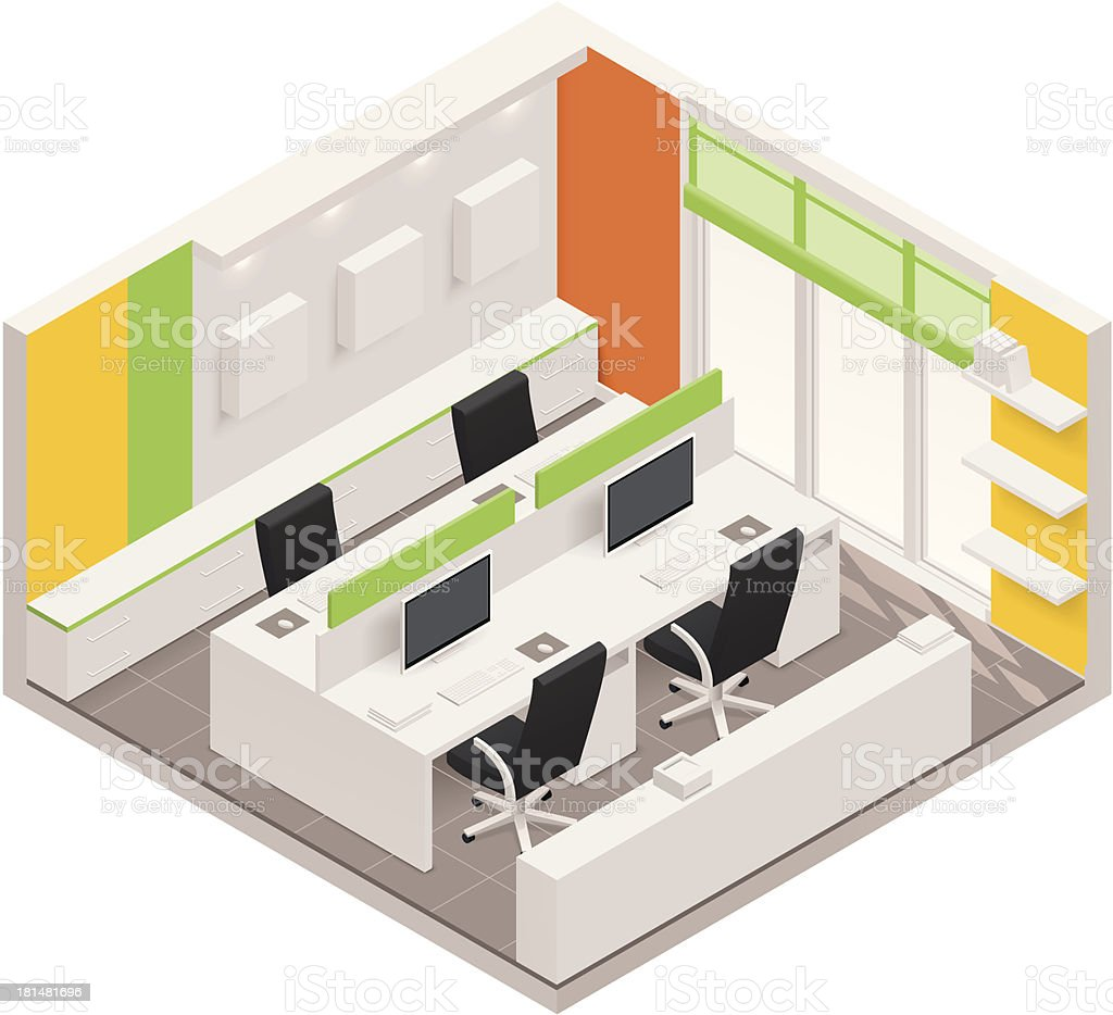 Isometric office room icon royalty-free stock vector art