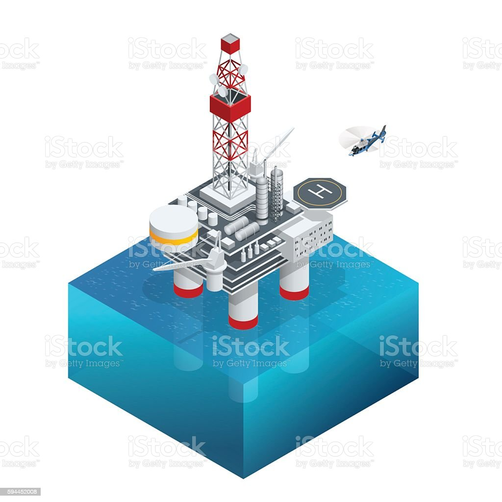 Isometric Oil and gas platform in the gulf or the vector art illustration
