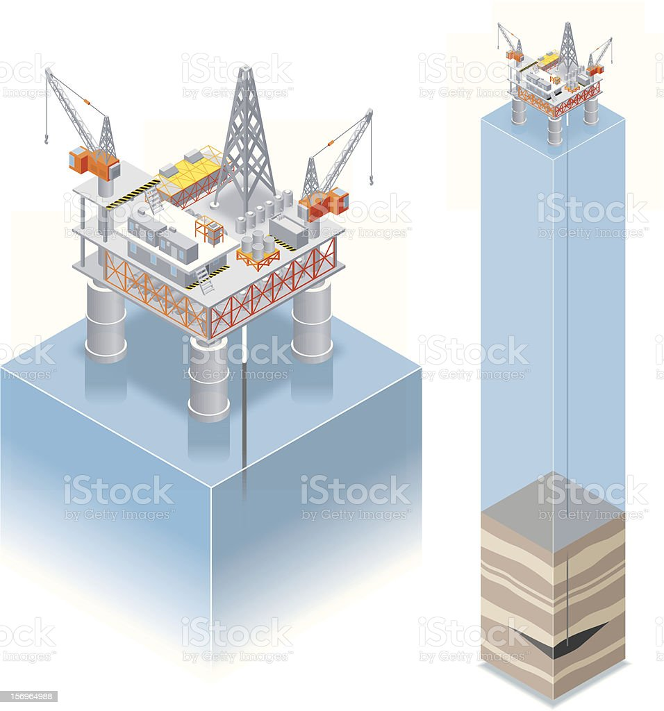 Isometric, oil drilling platform vector art illustration