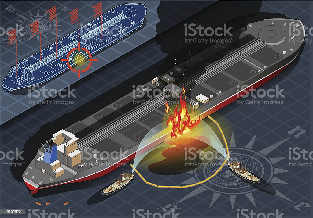 Isometric Oil Tanker Fire Disaster in Rear View royalty-free stock vector art