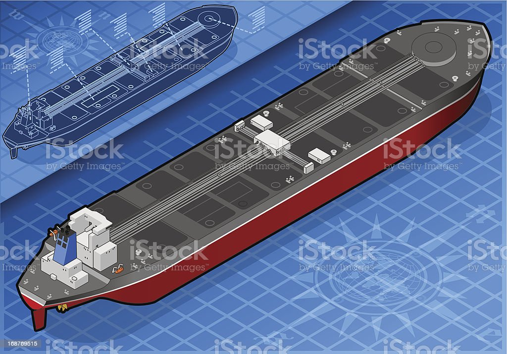 Isometric Oil Tanker in Front View royalty-free stock vector art