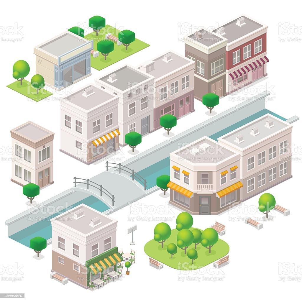 Isometric Old town. vector art illustration
