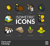 Isometric outline icons set 21