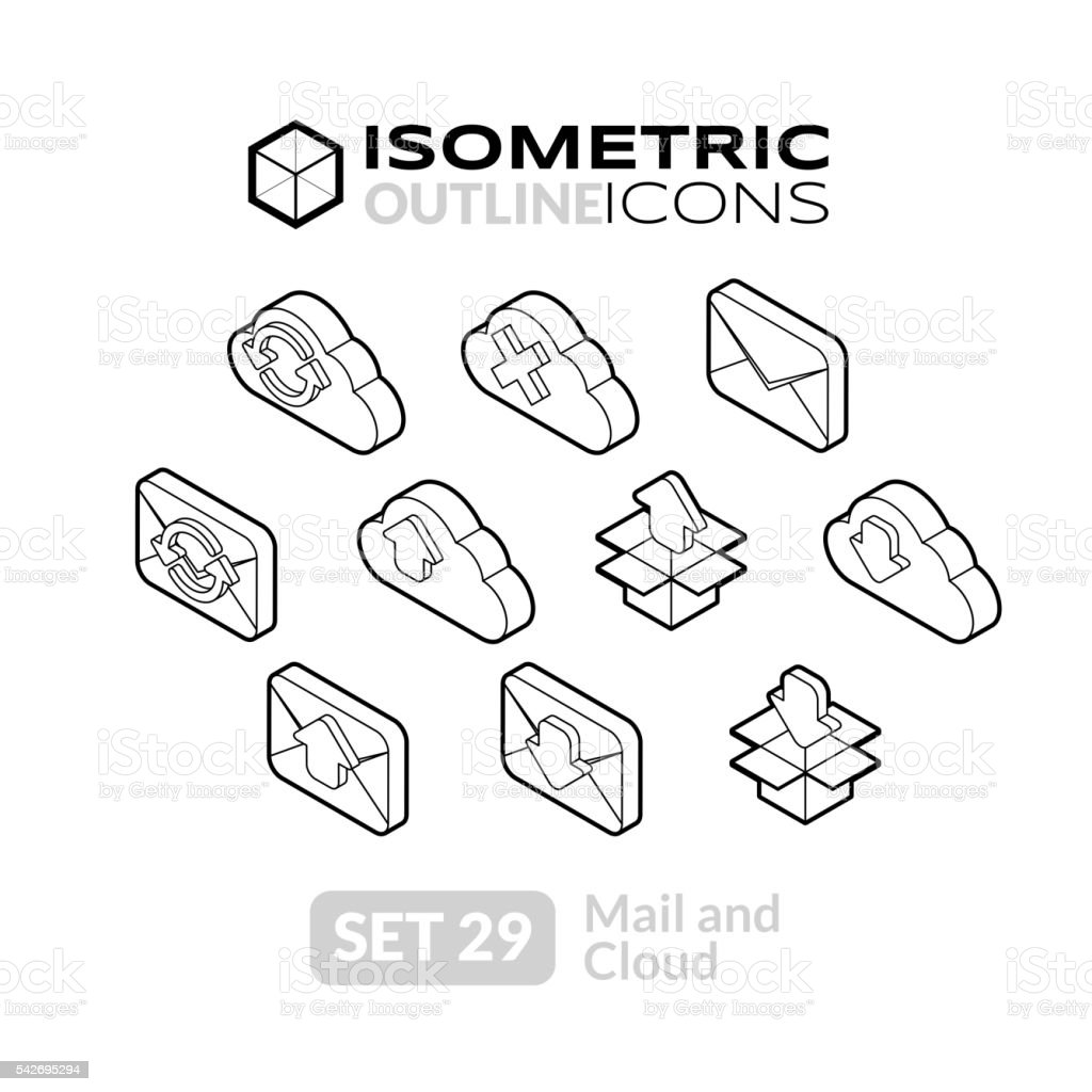 Isometric outline icons set 29 vector art illustration