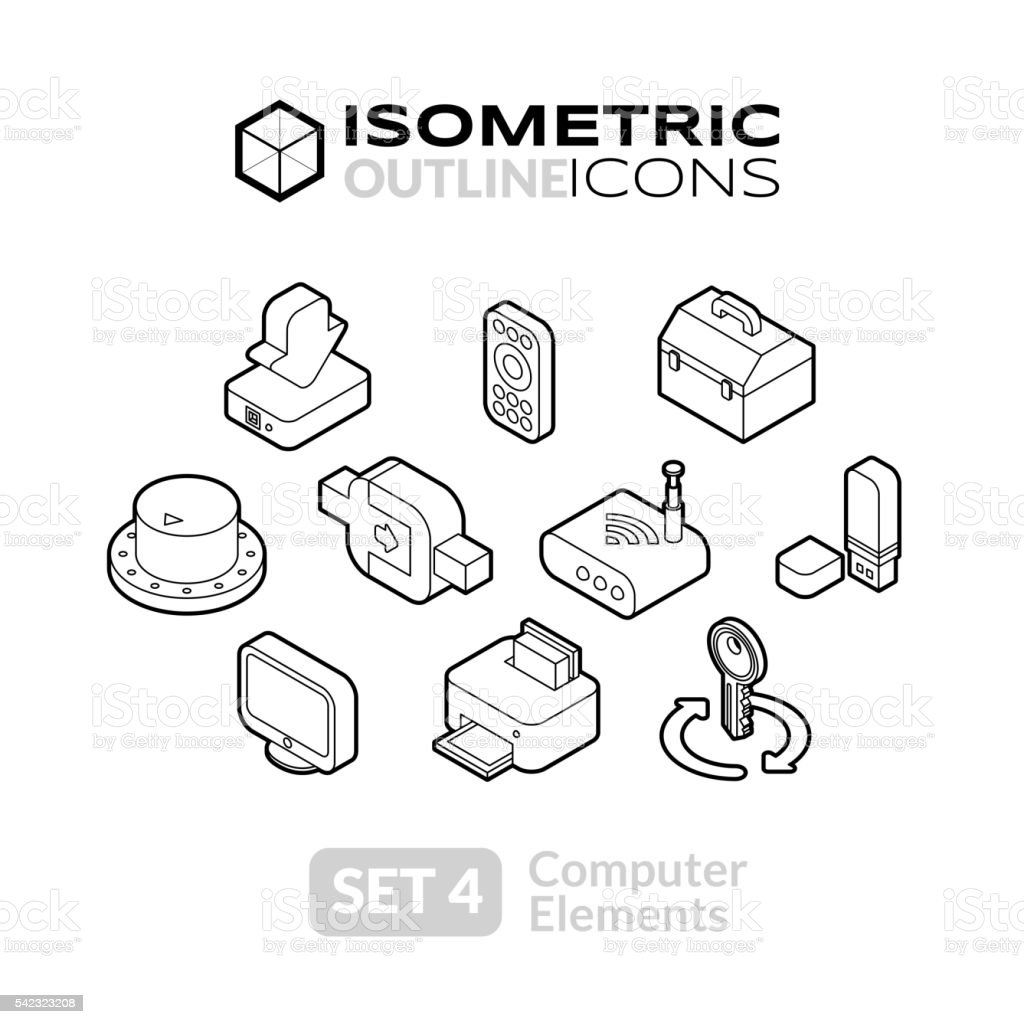 Isometric outline icons set 4 vector art illustration