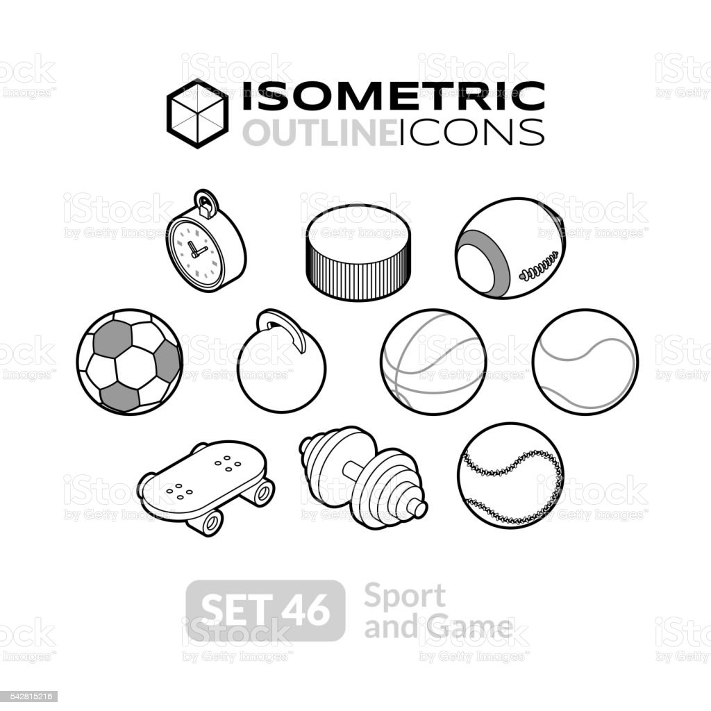 Isometric outline icons set 46 vector art illustration