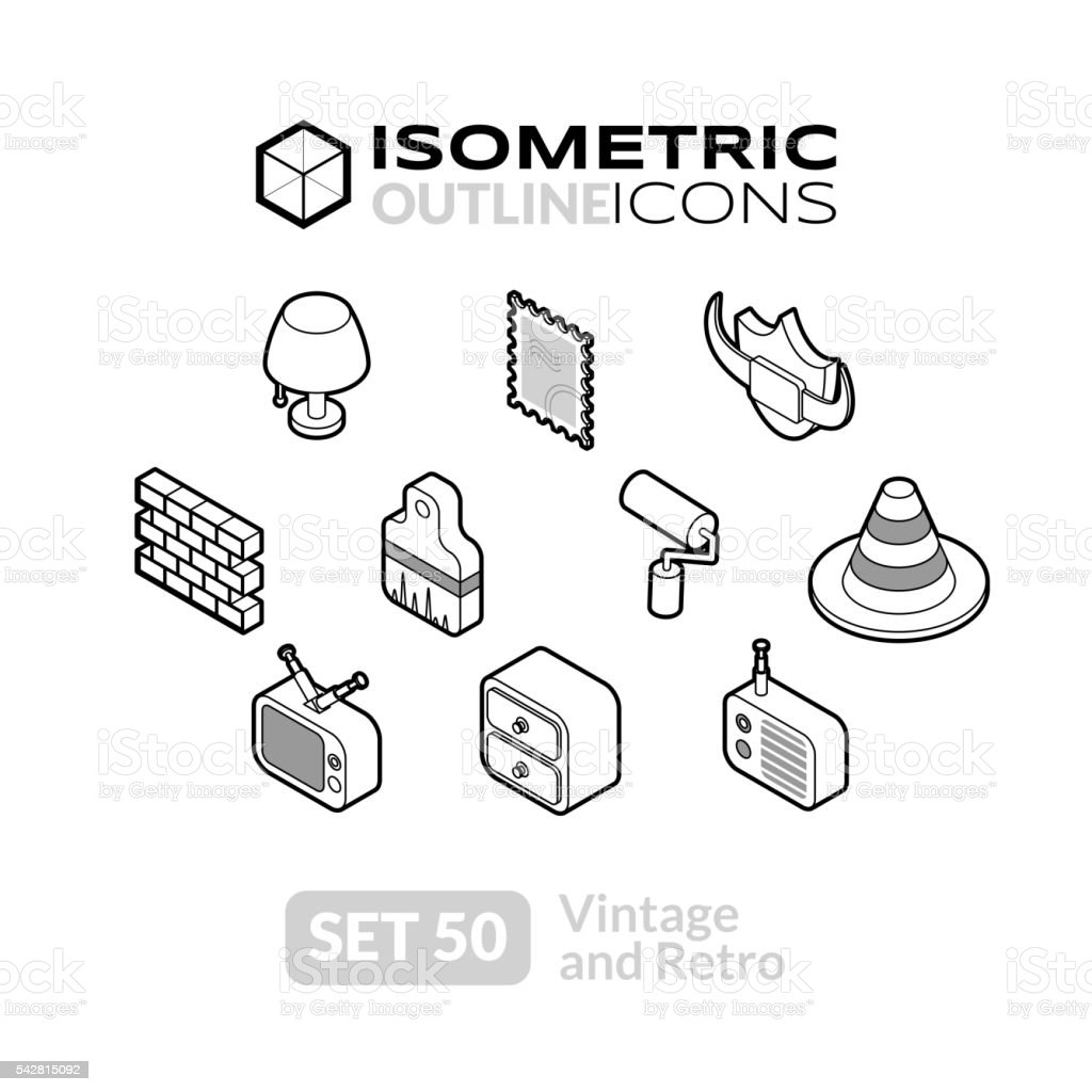 Isometric outline icons set 50 vector art illustration