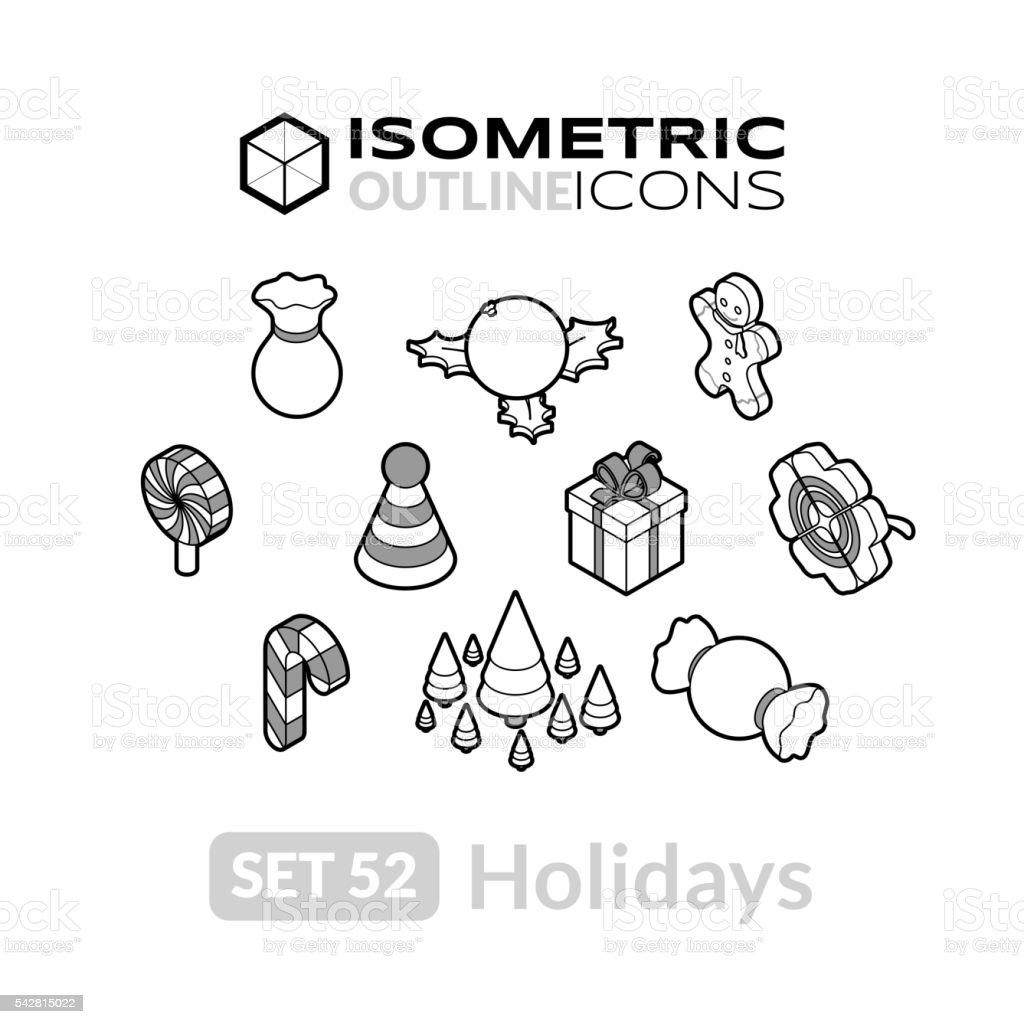 Isometric outline icons set 52 vector art illustration