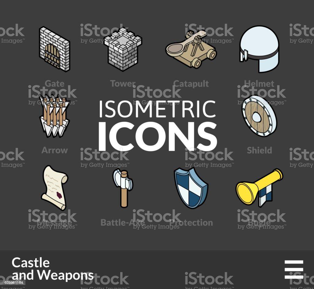Isometric outline icons set 53 vector art illustration